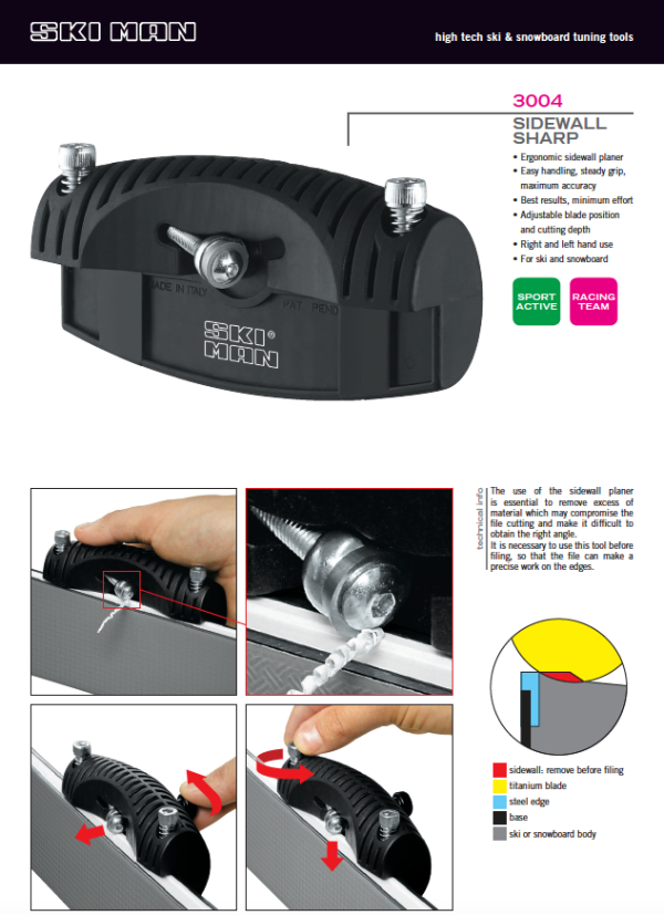 SkiMan SideWall Sharp Planer Instructions