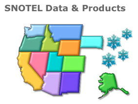 Snotel snow and water sensor maps for the western US